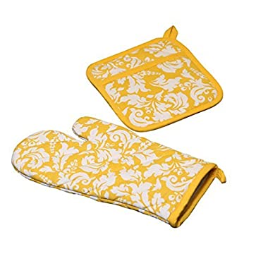 Yourtablecloth Set of Oven Mitt and Pot Holder or Oven Gloves-100% Cotton, High Heat Resistance, Superior Protection & Comfort–Elegant Design-Machine Washable-Marigold
