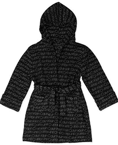 Calvin Klein Jungen Cozy Robe Hood Bademantel, Schwarz/Ck Logo Grau, Large