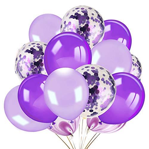 HOWAF 60 Stück Lila Konfetti Luftballon weiße helles Lila Ballons Latexballons Partyballon deko für Hochzeit Babyparty Kinder Geburtstag Party Dekoration