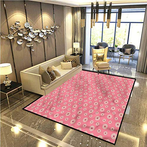 Floral Rug for Bedroom entryway Rug in Love Theme Flowers Carpets for bedrooms 4 x 6 Ft