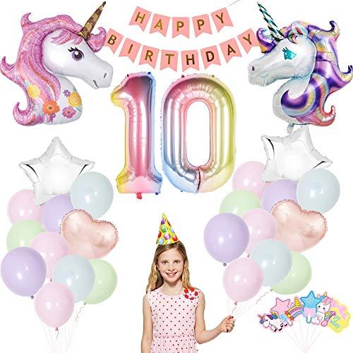 Einhorn Geburtstagsdeko,Einhorn Party Dekorationen Supplies, Einhorn Party Mädchen Geburtstagsdeko Luftballons,Deko zum Geburtstag,Luftballon 10. Geburtstag