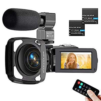 Video Camera Camcorder 2.7K, Ultra HD IR Night Vision YouTube Camera for Vlogging with Microphone Lens Hood from Actitop