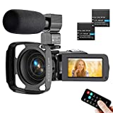 Video Camera Camcorder 2.7K, Ultra HD IR Night Vision YouTube Camera for Vlogging with Microphone Lens Hood
