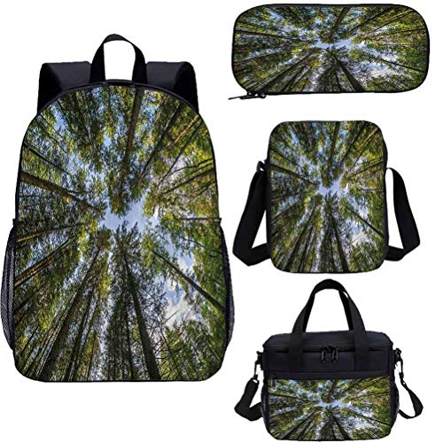 17' Teens Backpack Set,Jungle Moss Forest Trees School Bags Set for Work,School,Travel,Picnic