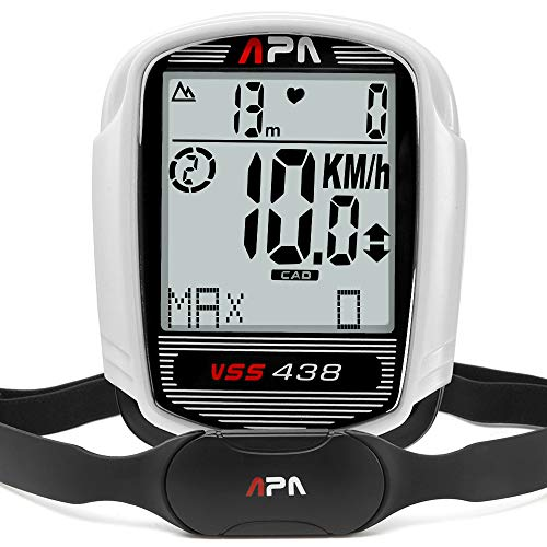 DREAM SPORT Wireless Bike Computer with Cadence Sensor Heart Rate Monitor Chest Strap, Speedometer Odometer Altimeter Bicycle Computer with Trip Distance Calories Timer Temperature Cycle Computer