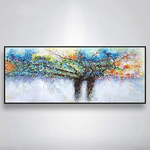 N / A Línea Dorada Abstracta Acuarela Árbol Pintura al óleo Mural Imagen Pintura Mural Sala de Estar Decoración del hogar Sin Marco 30x60cm