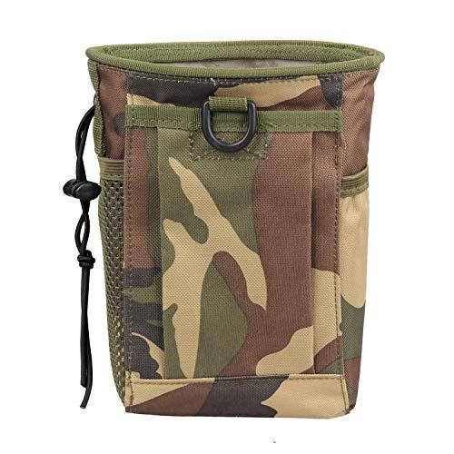 FIREDOG Military Molle Belt Tactical Paintball Magazine Mag Dump Ammo Pouch Utility Bag (Woodland camo)
