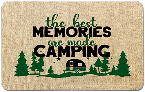 Occdesign Durable Burlap Camper Rug Mat -The Best Memories are Making Camping -Decorative Camp Doormat for Motorhomes,RV Camping -27.5X17 inches