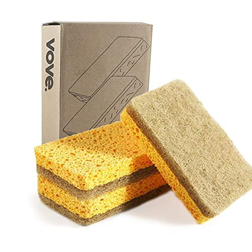 Vove | Premium Natural Kitchen Sponge | Non Scratch | Long Lasting | Plastic Free | Compostable Sponge Kitchen | Natural Fiber | Eco-Friendly | Biodegradable | (5 Pack)