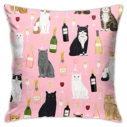 87569dwdsdwd Cat Wine Cat Cats Cat Lady Wine Winechampagne Square Pillow Case Home Sofa Decorative 18' X 18'Inch Ultra Soft Comfortable