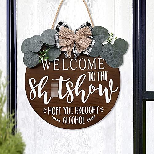 Wooden Front Door Sign Rustic Round Door Hanger Funny Door Sign Adult Humor Welcome Sign Door Decor Farmhouse Home Decoration Ideas 12 Inches-Brown