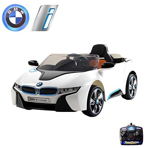 BMW i8 Vision Kinder Elektroauto Deluxe-Edition, 2.4GHz Fernbedienung,Multifunktionslenkrad, MP3-Anschluss, realistischen Soundeffekten, 12V Powerakku und 2x35W starker Motor und vieles mehr