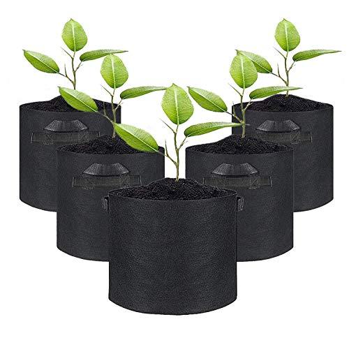 LANSONTECH 不織布ポット 植物栽培 バッグ 通気性 プランター フェルト 植物成長鉢 浸透性 園芸用 ガーデン 庭 花 植物 野菜栽培 苗バッグ ルートバッグ 植え袋 5セット (15ガロン (高30×直径50))