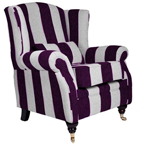 Oxford Kamin Stuhl in Harrison lila Streifen Stoff.
