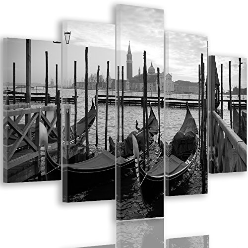 Feeby Frames, Cuadro en lienzo - 5 partes - Cuadro impresión, Cuadro decoración, Canvas Tipo A, 150x100 cm, CANAL DE VENECIA, GÓNDOLAS, AGUA, PANORAMA, CIUDAD, NEGRO Y BLANCO