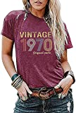 Womens Vintage 1970 Original Parts Tshirt Tops Retro 51th Birthday Gift T Shirts Birthday Party Short Sleeve Tee Blouse Purple Red