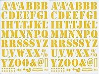 (シャシャン)XIAXIN 防水 PVC製 アルファベット ナンバー ステッカー セット 耐候 耐水 ローマ字 数字 キャラクター 表札 スーツケース ネームプレート ロッカー 屋内外 兼用 TS-518 (イエロー, 2点)