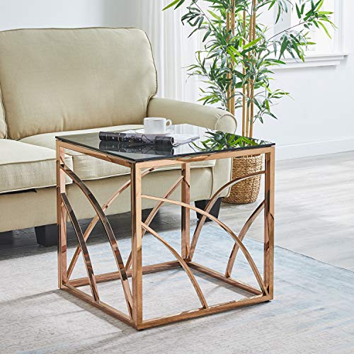 AINPECCA End Table Stainless Steel Side table with Light Grey Tempered Glass Design Living room (Rose gold, End table B)