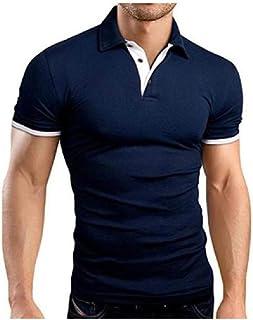 Hombres de pie de Cuello de Manga Corta de Negocios Informal de algodón Polo de Moda Slim Fit Camisa