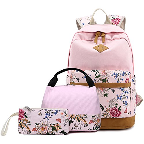 Abshoo Lightweight Canvas Cute Girls Bookbags for School Teen Girls Backpacks With Lunch Bag (Floral Pink)