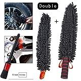 車輪ブラシタイヤブラシ、18インチのシェニール超微細繊維のエッジ掃除ブラシ、金属部品の露出がなく、エッジ擦り傷がない(1つ予備の掃除カバー+1つの細かいブラシ)