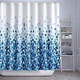 HAOJH Cortinas de Ducha Cortina de Ducha Suave Impermeable con Ganchos para baño Cortina de baño de Tela de poliéster Lavable Anti-Moho (Azul, 180 x 180 cm)