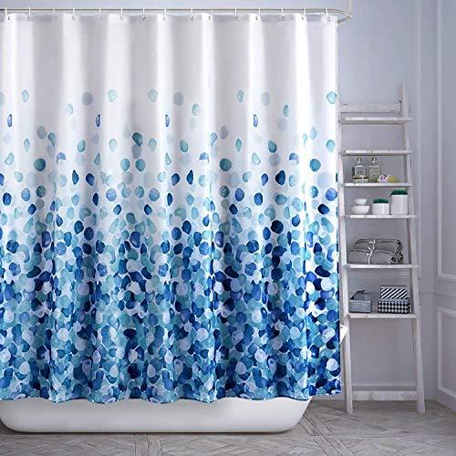 HAOJH Duschvorhänge Wasserdicht Weich Duschvorhang für Badezimmer Anti-Schimmel Waschbar Polyester Stoff Badvorhang (Blau, 180 x 180 cm)