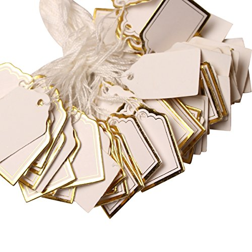 H88 1000 Pcs Gold Price Tag Retail Label Tie String Jewelry Watch Display # 6001372 Photo #4