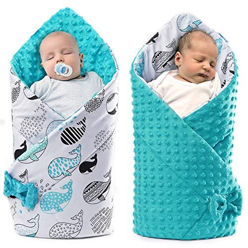 coperta neonato invernale sacco nanna avvolgente passeggino copertina swaddle cucita a mano in Europa (azzurro, Cotone)