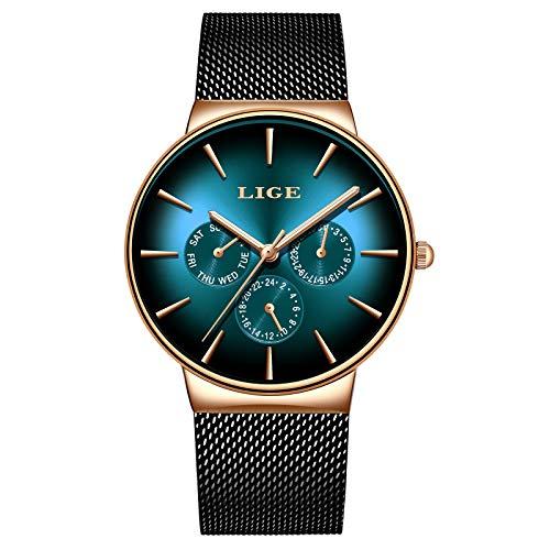 LIGE Hombre Relojes Moda Militar Deportes Impermeable Acero Inoxidable Negro Malla Negocios Vestido Cuarzo Analógico Azul Dial Reloj