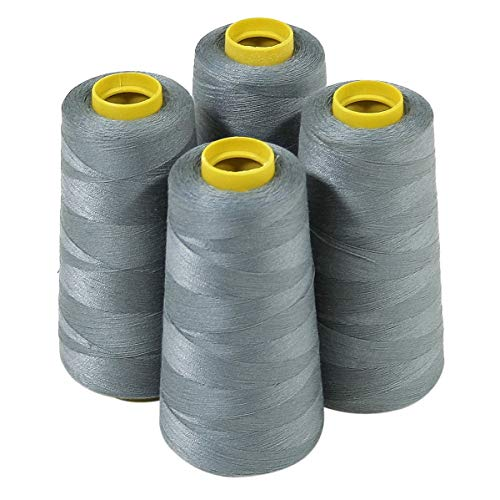 ThreadNanny 4 Large Cones (3000 Yards Each) of Polyester Threads for Sewing Quilting Serger Grey Color from