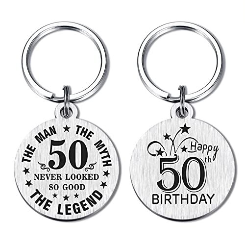DEGASKEN Happy 50th Birthday Gift Ideas for Men, 50 Never Looked So Good, Vintage 50 Year Old Age Male Funny Keychain