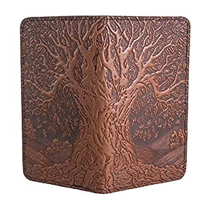 Oberon Design Tree of Life Embossed Genuine Leather Checkbook Cover, 3.5×6.5 Inches, Saddle Color, Made in the USA