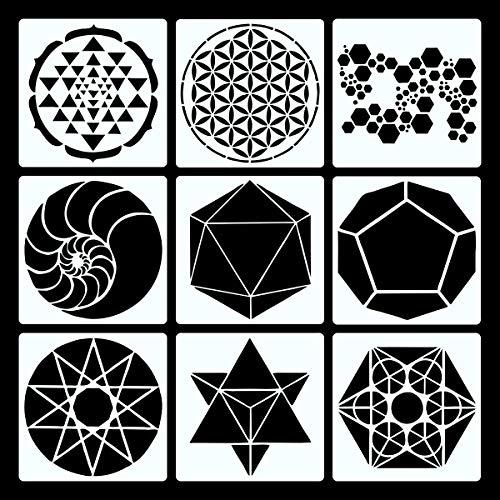 PARBEE 9 PCS Heilige Geometrie Schablonen, Super Sechseck, die Blume des Lebens Malerei Vorlagen DIY Malerei Handwerk, 18CM
