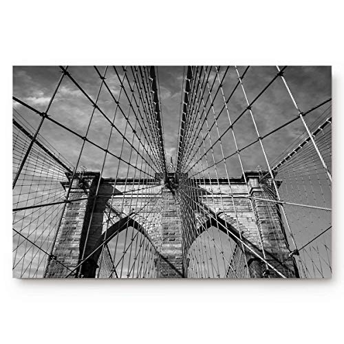 Tapete de Puerta Personalizado Puente de Brooklyn, York Alfombras de Entrada de Goma Antideslizantes Interiores en Blanco y Negro para baño