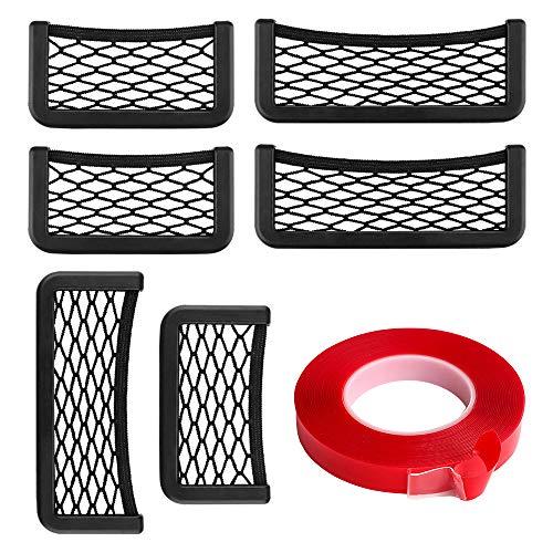 Auto-Speichernetzbeutel, 6pcs ABS-Kunststoffrahmen mit dehnbarem Mesh-Netz, String-Tasche Autositz Seite Rückseite zum Aufkleben für Handtaschenhalter Organizer mit 1PC Double Sided Tape Geschenk