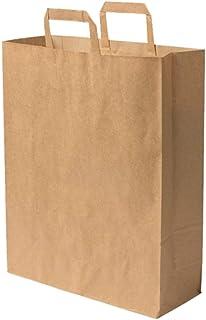 100 Sac papier poignée renforcée marron 16 LITRES 40 cm haut x 32 large x 12 cm soufflet cabas boutique solide résistant s...