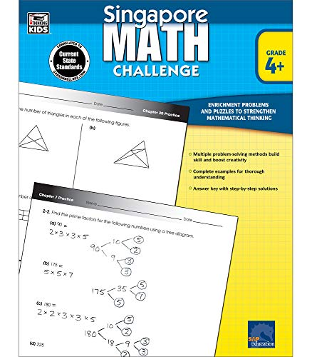 Singapore Math Challenge Workbook—Common Core Math for Grades 4-6, Addition, Subtraction, Multiplication, Division, Formulas, Classroom or Homeschool Curriculum (352 pgs)