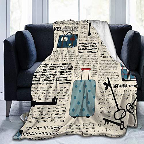 Manta mullida, estilo retro, para viajes, vacaciones, diseño vintage, maletas, llaves, texto de puntos, ultra suave, manta para bebé, cama, cama, TV, manta de 50 x 40 pulgadas