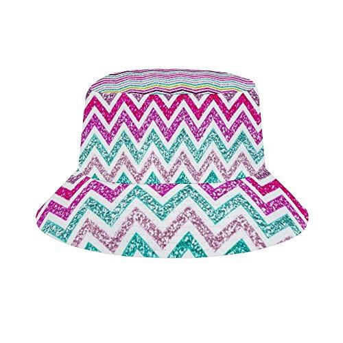Sun Hat for Men/Women,Outdoor Packable Travel Bucket Cap Hats for Safari Fishing Hiking Beach Golf-Chevron Glitter Rainbow Girly Bling