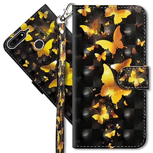 MRSTER Huawei Y7 2018 Handytasche, Leder Schutzhülle Brieftasche Hülle Flip Hülle 3D Muster Cover mit Kartenfach Magnet Tasche Handyhüllen für Huawei Y7 2018 / Honor 7C. YX 3D - Golden Butterfly