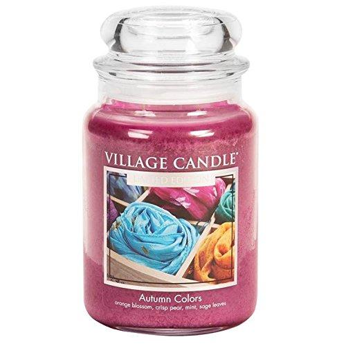 Village Candle 127326872 Bougie Les Couleurs automnale, Grande Jarre, Verre, Rose, 10,5 x 10,3 x 16,2 cm