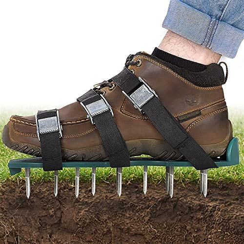 Hand operated tools Lawn Aerator Shoes,Lawn Aerator Sandals,Lawn Aerator Scarifier,Lawn Scarifier,with 6 Shoelace Garden Yard Grass Cultivator Scarification Garden plant care