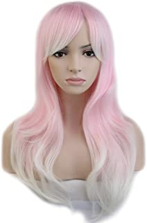 Anime Cosplay Wigs Layered Ombre 24 Inch Long Wavy with Bangs Full Wigs for Women Ladies Costume 6 Styles Pink to White