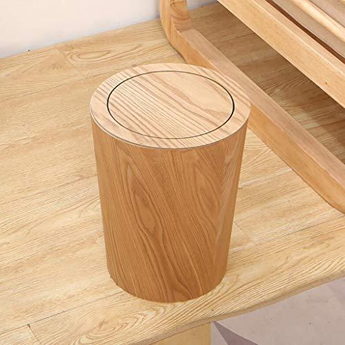 FCSFSF Holz Mülleimer mit Schaukeldeckel, runde Küche Mülleimer, japanische kleine Abfalleimer Papierkorb für Büro Badezimmer Wohnzimmer B 19x19x30cm (7x7x12inch)