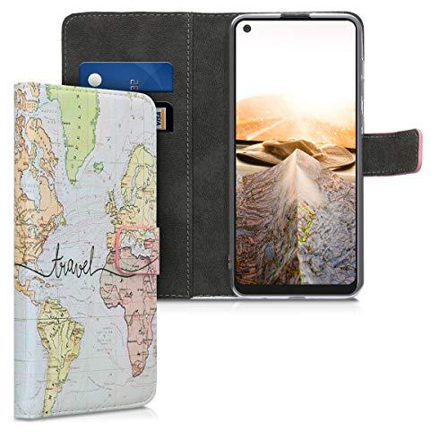 kwmobile Custodia Compatibile con Samsung Galaxy A21s - Cover Magnetica Portafoglio con Stand in Simil Pelle - Case Porta Carte - Mappa del Mondo Nero/Multicolore