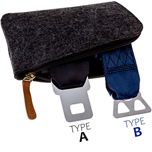 Airplane Seatbelt Extenders Premium 2 Pack for All Airlines | Type A Universal | Type B Southwest | 2020 Upgraded Colors & Bonus Felt Travel Case Zipper Pouch for Safe Discreet Storage | by journeyxl