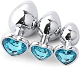 Osye 3PCS Stainless Steel Heart Ànâles Trainer Kit-Jewelry Bûtt Pl'ugs Beads Massager Jewele Back Foot Massagers-Light Blue