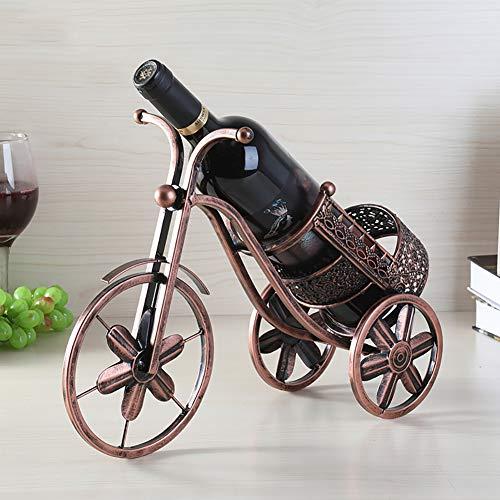 TDOYO Soporte para Botellas de Vino de Metal con Forma de Triciclo, Estante de almacenamientoUtilizado en Bares, cocinas, Decoraciones de Mesa, Color Vintage 36.5 * 13.28cm,A