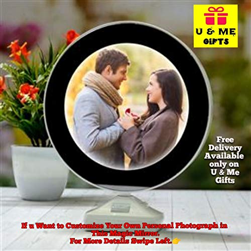 U & Me Gifts Magic Glass Mirror Photo Frame with LED Light Round & Customized Personal Photograph (White 20x25cm)